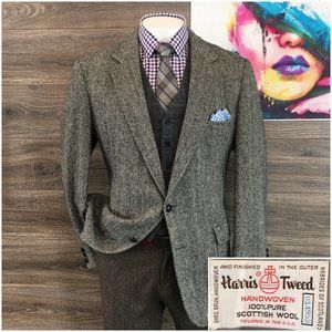 Vintage Harris Tweed Wool Sport Coat 2 Button Jack